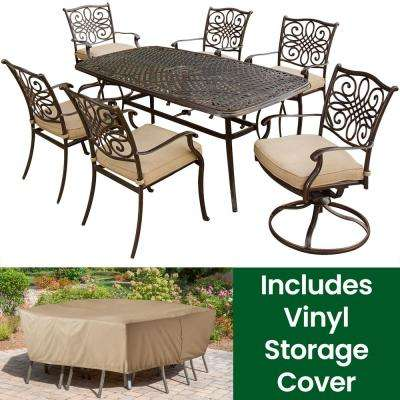 7-Piece Aluminum Rectangular Outdoor Dining Set with 2 Swivel Chairs, Protective Cover and Natural Oat Cushions included