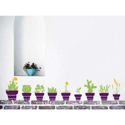 77 in. x 16 in. A Set of 9 Cactus Flower Pots Removable Wall Decal