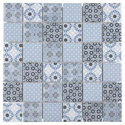 Classico Blue 11-3/4 in. x 11-3/4 in. x 7 mm Porcelain Mosaic Tile