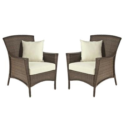 Galleon Collection Wicker Outdoor Lounge Chair Set with Light Brown Cushions (2-Pack)