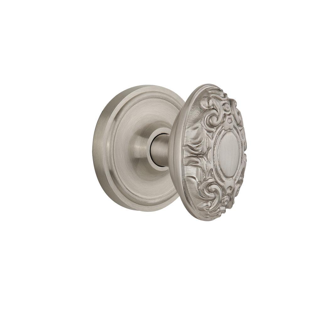 Classic Rosette 2-3/4 in. Backset Satin Nickel Passage Hall/Closet Victorian Door Knob