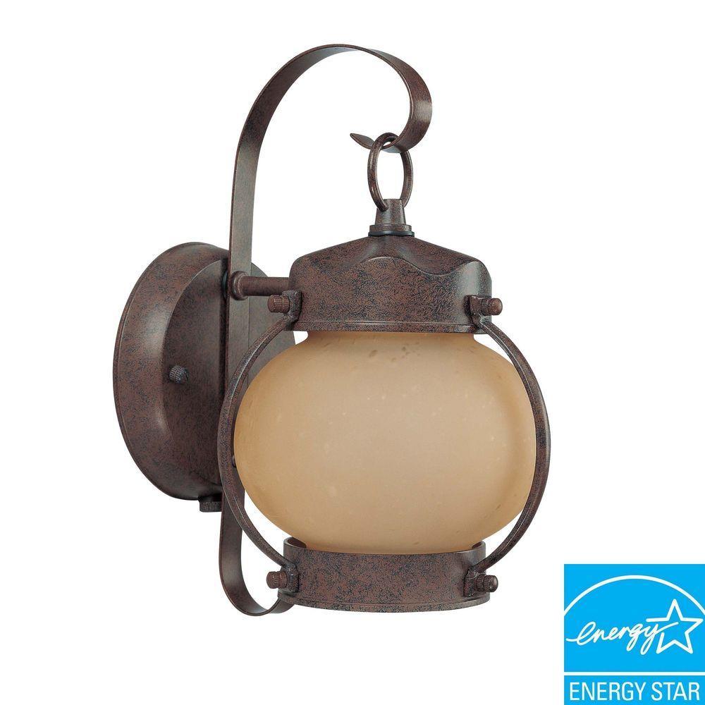 Green Matters 1-Light Outdoor Old Bronze Fluorescent Wall Light