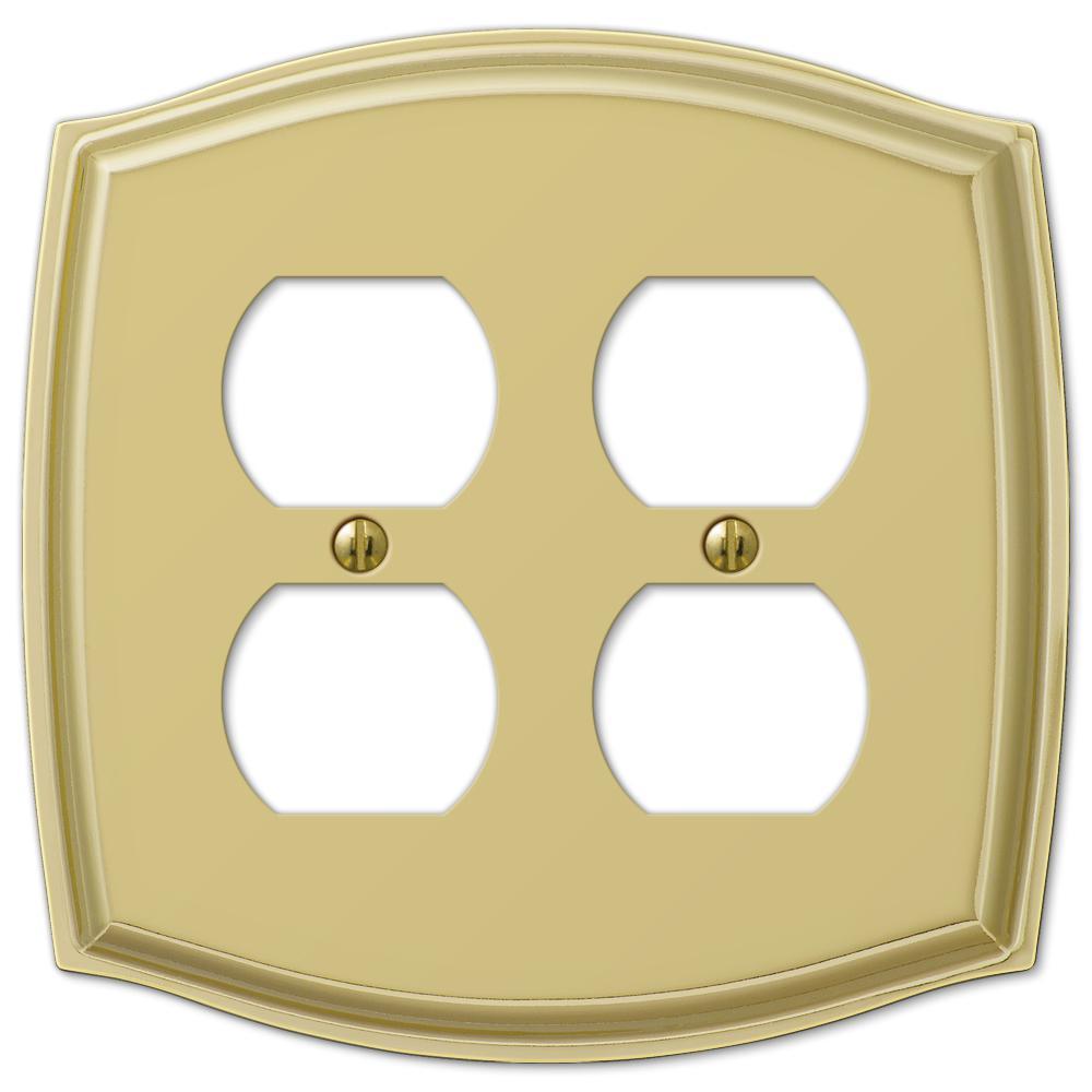 Vineyard 2 Gang Duplex Steel Wall Plate - Polished Brass