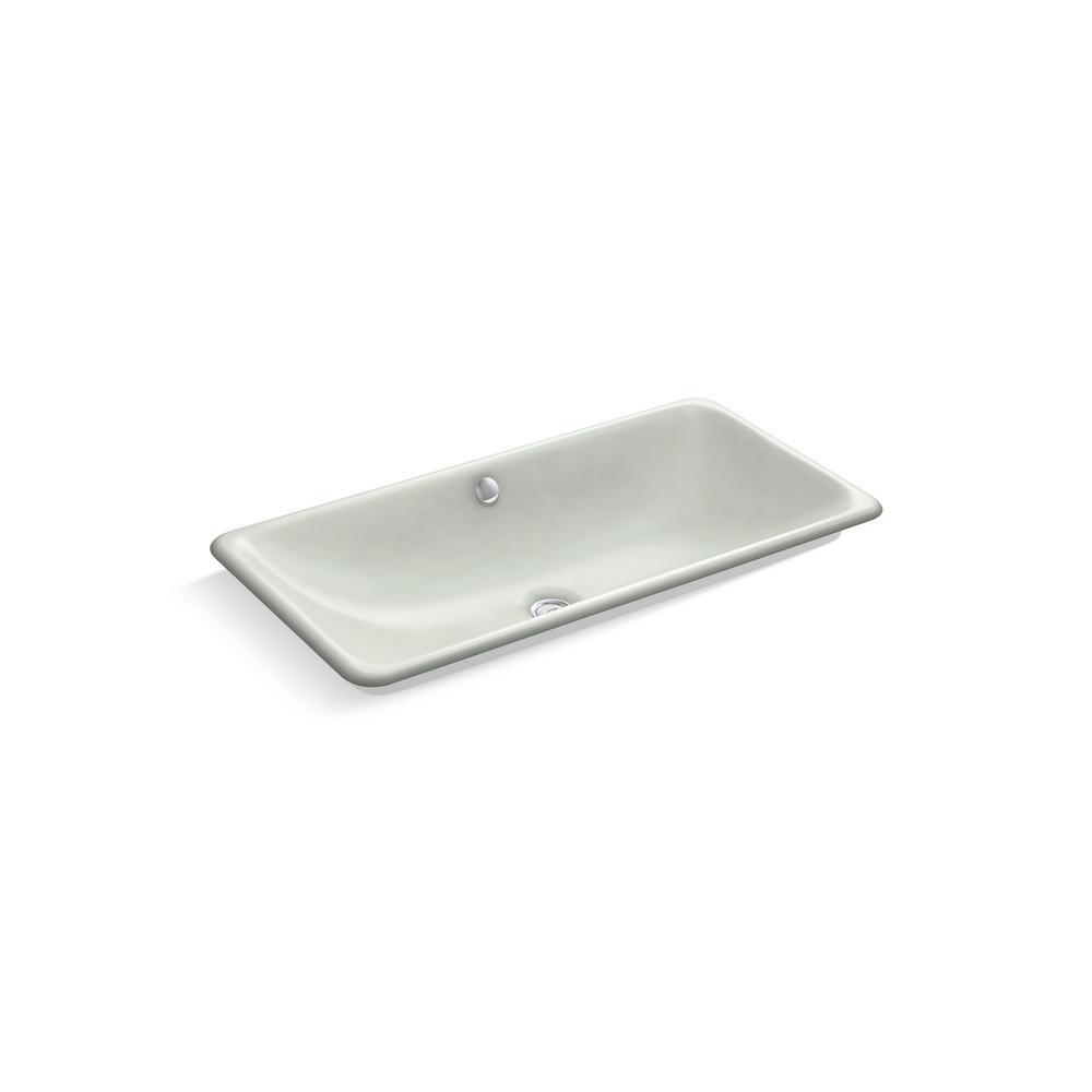 KOHLER Iron Plains Drop-In Bathroom Sink in Sea Salt
