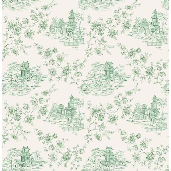 A-Street Laure Green Toile Wallpaper 2657-22220