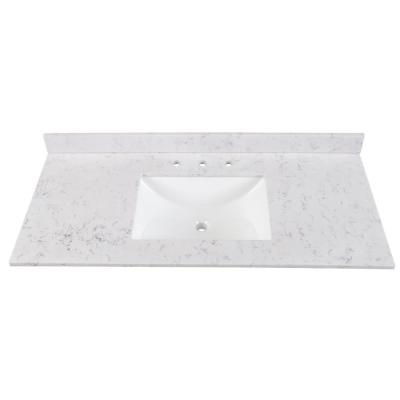 49 in. Stone Effects Vanity Top in Pulsar with White Sink
