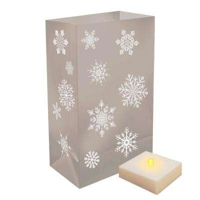 Battery Operated Luminaria Silver Snowflake Kit with Timer(6-Count)