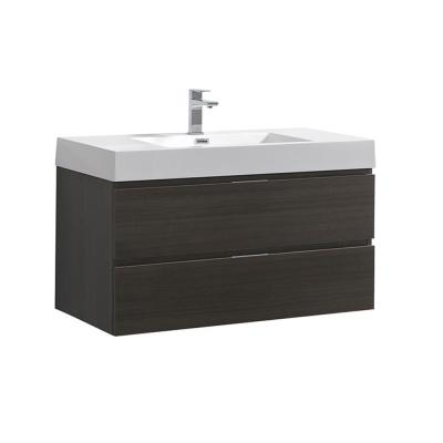 Valencia 40 in. W Wall Hung Bathroom Vanity in Gray Oak with Acrylic Vanity Top in White