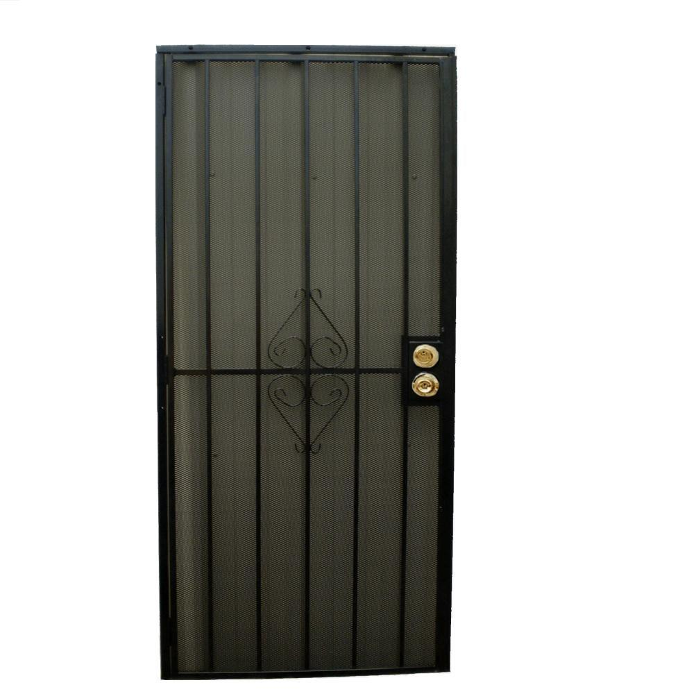 Grisham 32 in. x 80 in. 808 Series Protector Black Surface Mount Steel Security Door with Expanded Steel Screen