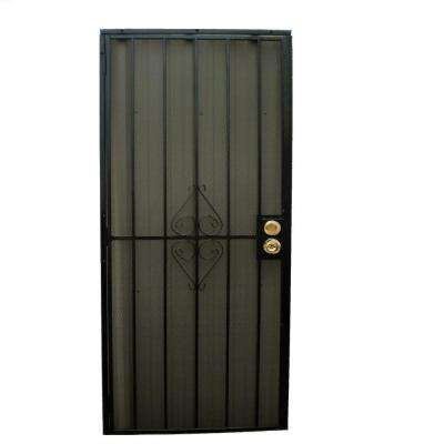 32 in. x 80 in. 808 Series Protector Black Surface Mount Steel Security Door with Expanded Steel Screen