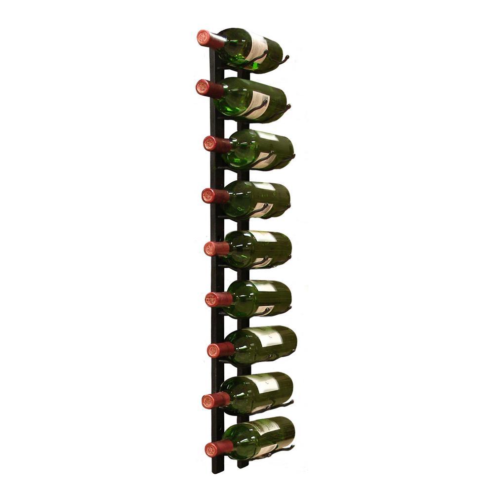 9-Bottle Metal Wine Rack in Black
