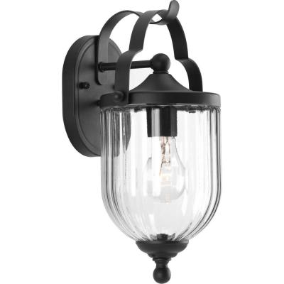 McPherson Collection 1-Light Black 13.5 in. Outdoor Wall Lantern Sconce
