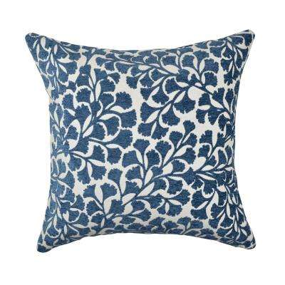 Navy Ginkgo Leaf Designer Throw Pillow