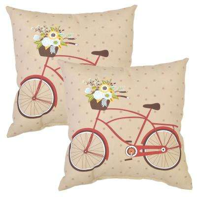 Ruby Bike Square Outdoor Throw Pillow (2-Pack)