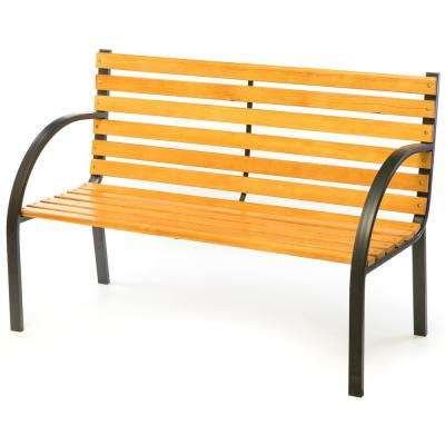 Classical Wooden Outdoor Park Patio Garden Yard Bench with Steel Frame