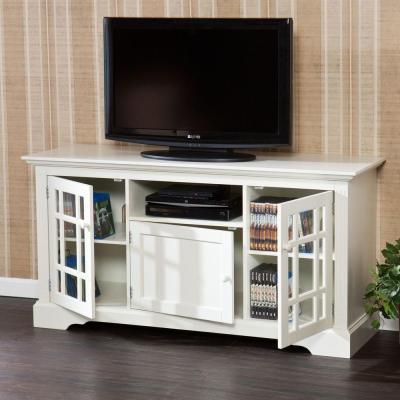 Madison 55 in. Off-white Particle Board TV Stand Fits TVs Up to 53 in. with Storage Doors