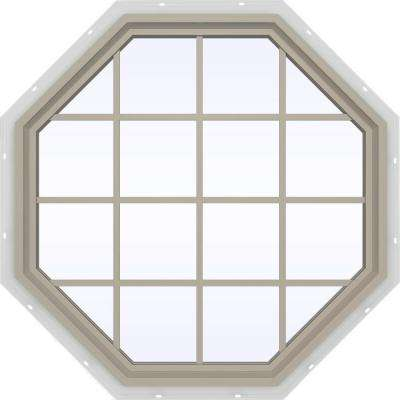 47.5 in. x 47.5 in. V-4500 Series Desert Sand Painted Vinyl Fixed Octagon Geometric Window with Colonial Grids/Grilles