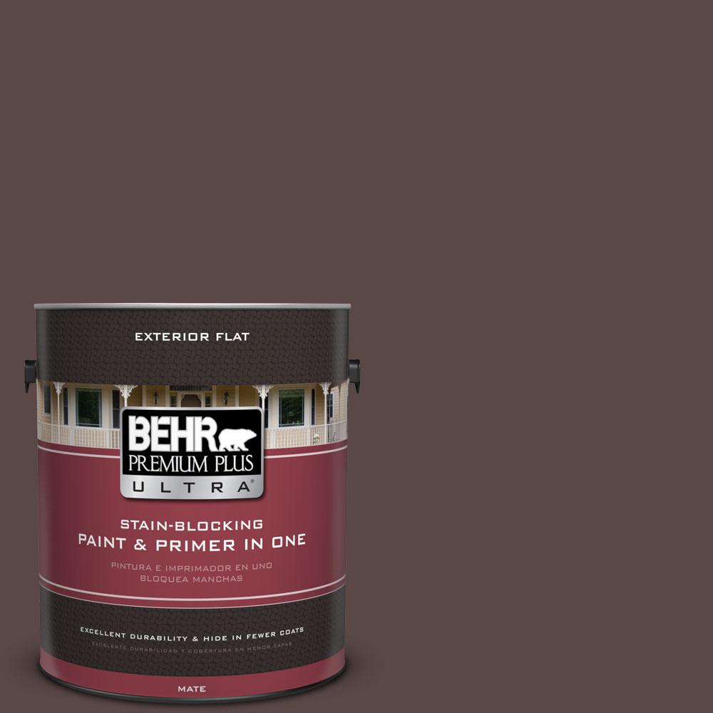 BEHR Premium Plus Ultra 1-gal. #750B-7 Thick Chocolate Flat Exterior Paint