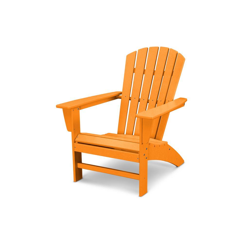 Grant ParkTraditional Curveback Tangerine Plastic Outdoor Patio Adirondack Chair