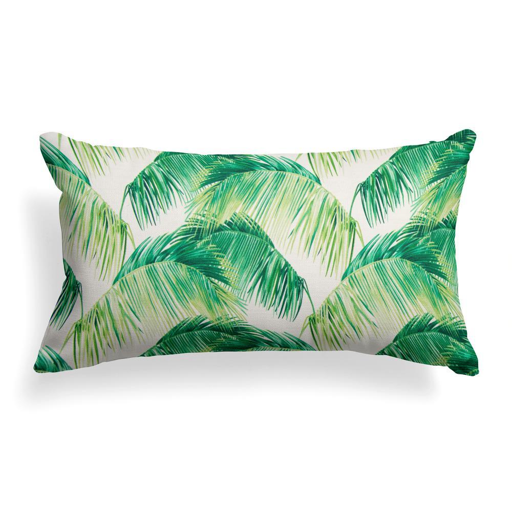 Tahitian Green Rectangular Lumbar Outdoor Pillow