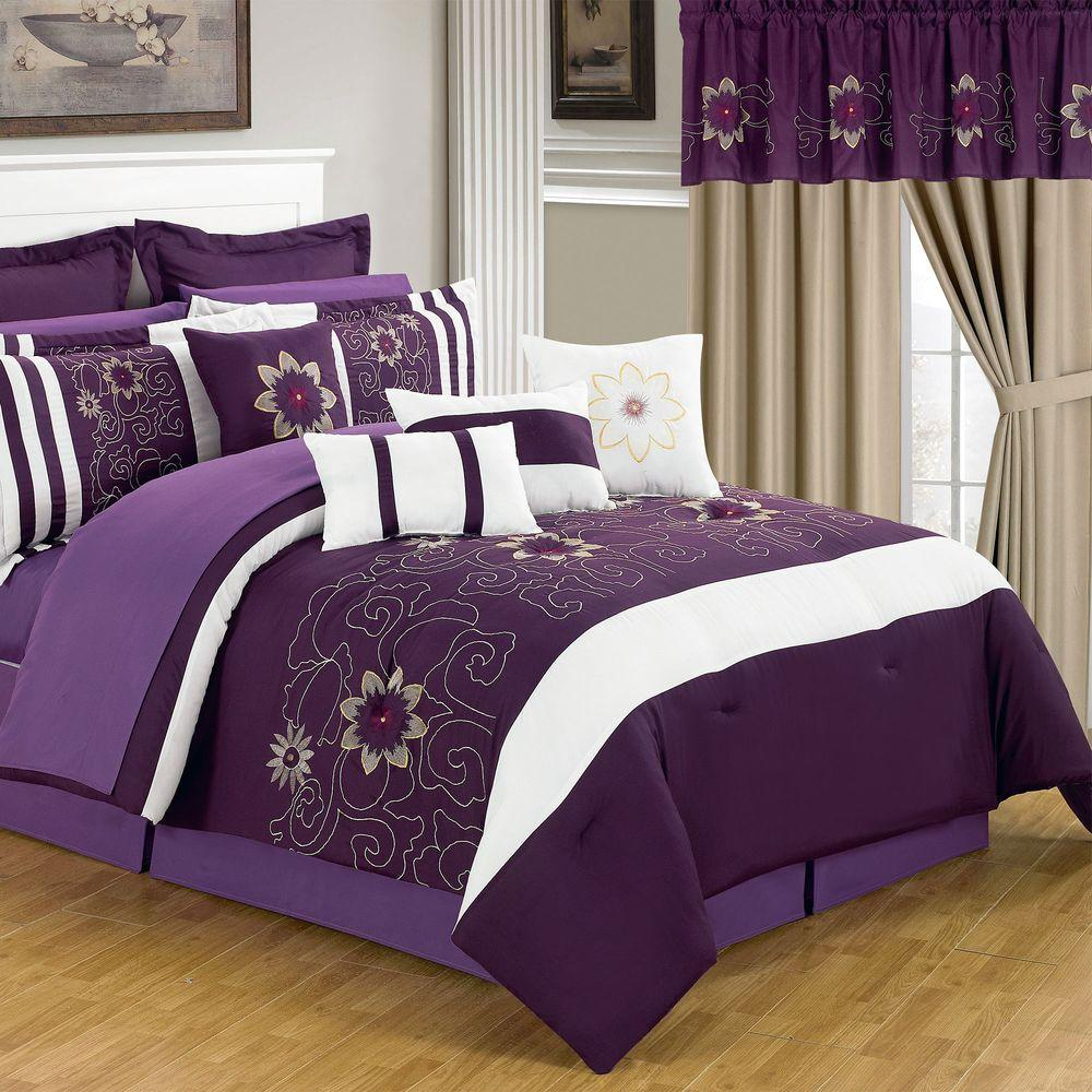 floral purple sets queen bedding comforter set ebay pin embroidered