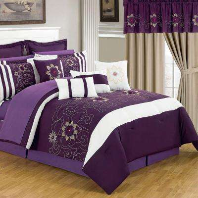 Amanda Purple 24-Piece Queen Comforter Set