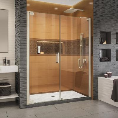 Elegance-LS 63-3/4 in. to 65-3/4 in. W x 72 in. H Frameless Pivot Shower Door in Brushed Nickel