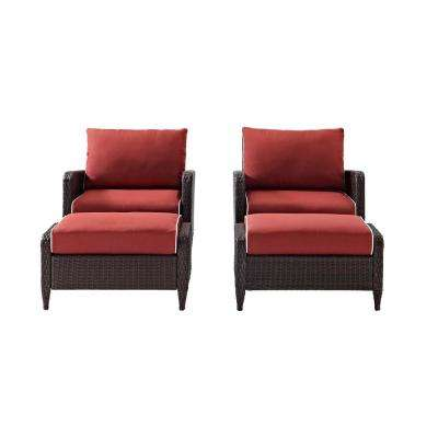 Kiawah Dark Brown Wicker Outdoor Lounge Chair with Sangria Cushion (4-Piece)