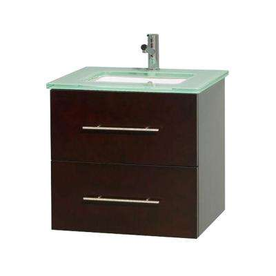 Centra 24 in. Vanity in Espresso with Glass Vanity Top in Green and Undermount Sink