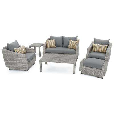 Cannes 6-Piece Loveseat Patio Deep Seating Set with Charcoal Grey Cushions