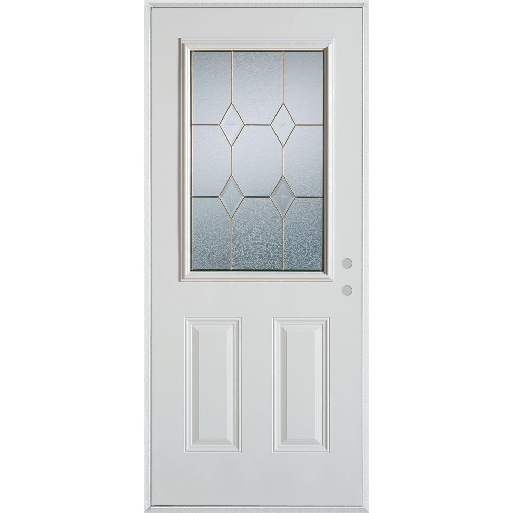Stanley Doors 32 in. x 80 in. Geometric Zinc 1/2 Lite 2-Panel Painted White Left-Hand Inswing Steel Prehung Front Door