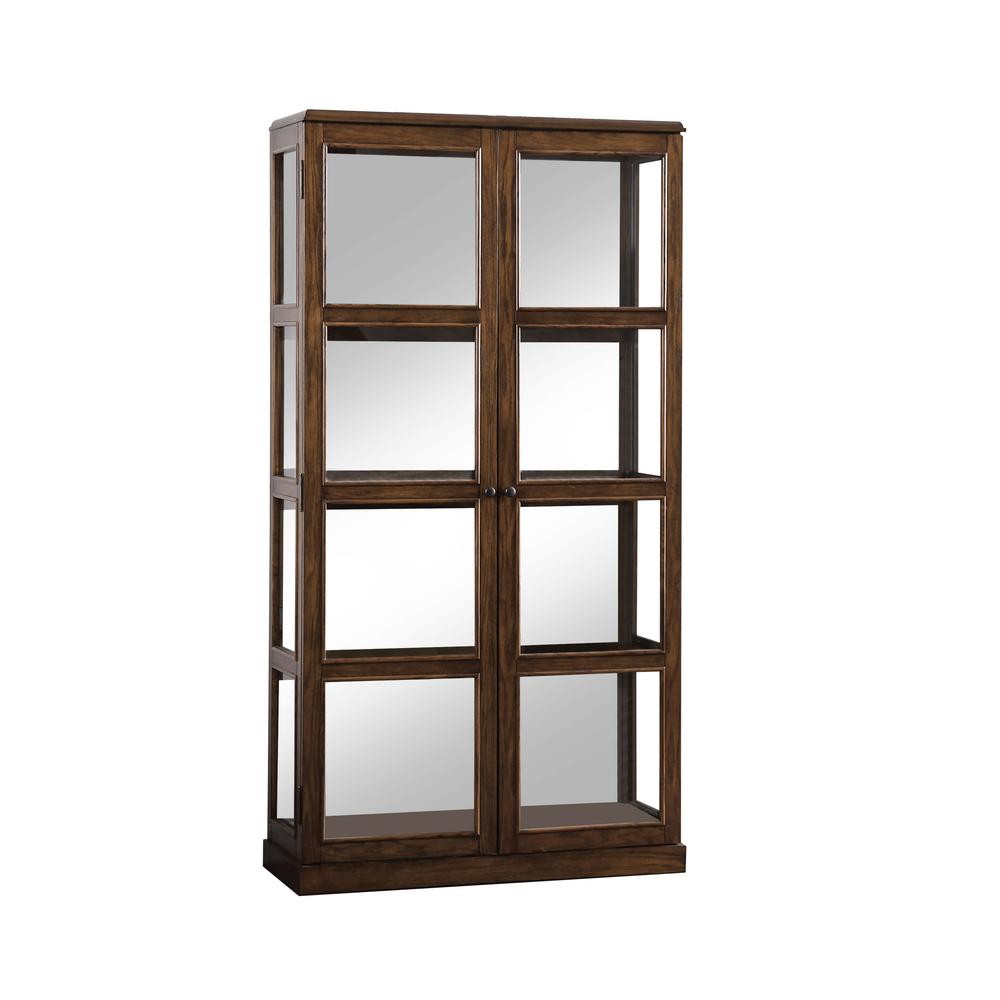 Jones Oak China Cabinet with Window-Panel Doors