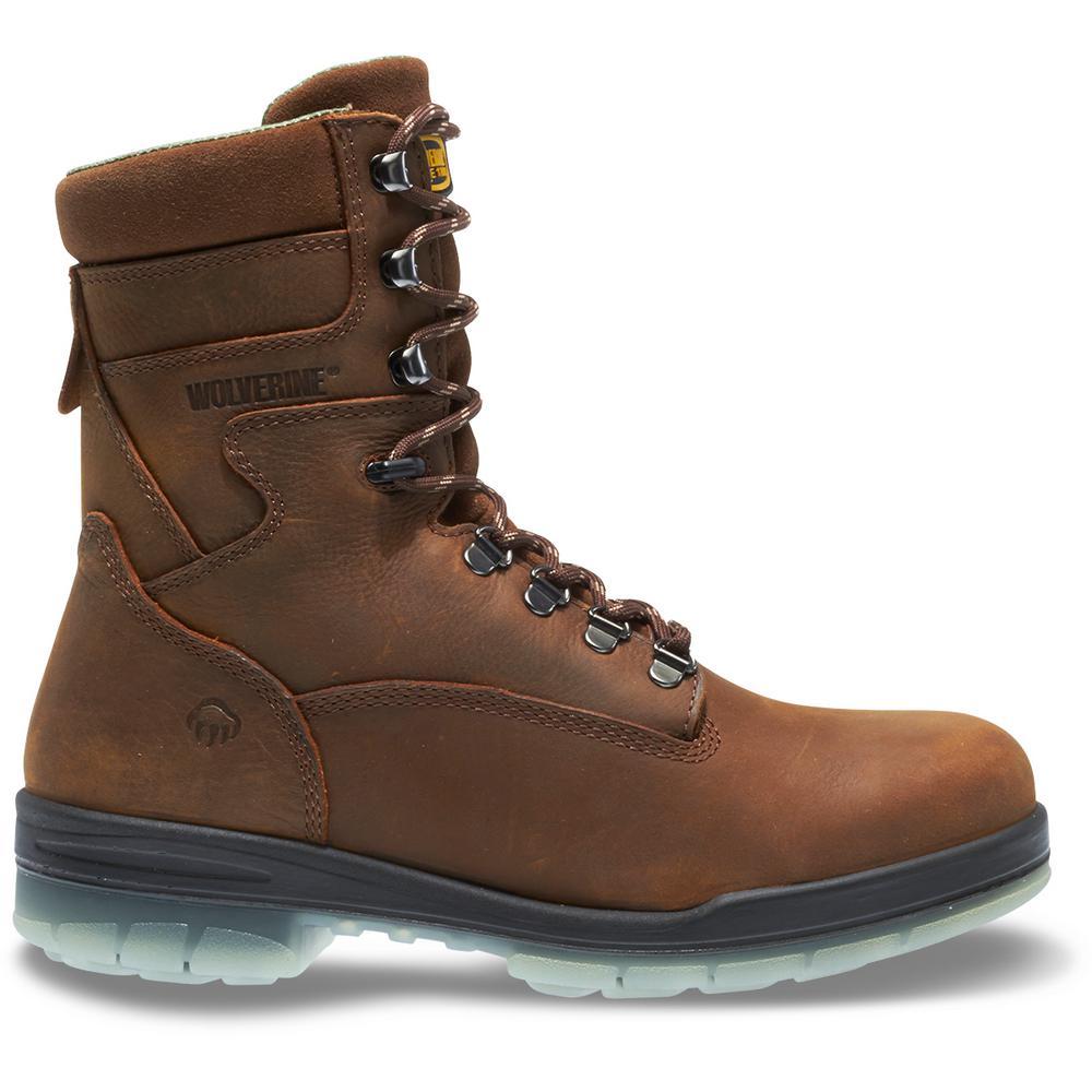 "Men's I-90 Durashocks Size 9.5EW Brown Nubuck Leather Waterproof Steel Toe 8"" Boot"