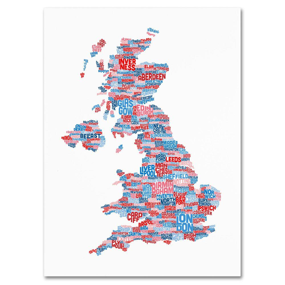 16 in. x 24 in. UK Cities Text Map 7 Canvas