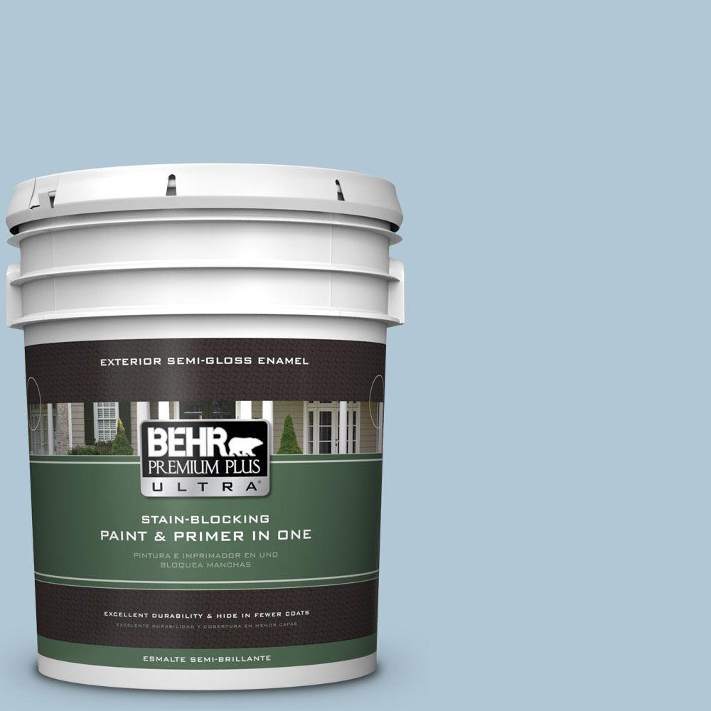 BEHR Premium Plus Ultra 5 gal. #T15-08 Elusive Blue Semi-Gloss Enamel Exterior Paint, Blues