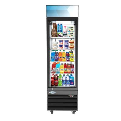 23 in. W 13 cu. ft. Commercial Upright Display Refrigerator Glass Door Beverage Cooler with LED Lighting in Black