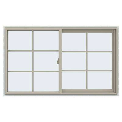 59.5 in. x 35.5 in. V-2500 Series Desert Sand Vinyl Right-Handed Sliding Window with Colonial Grids/Grilles