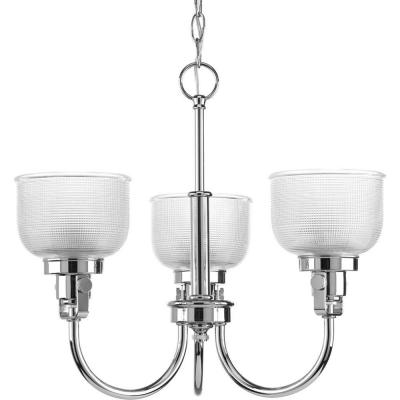 Archie Collection 3-Light Chrome Chandelier with Clear Prismatic Glass Shade