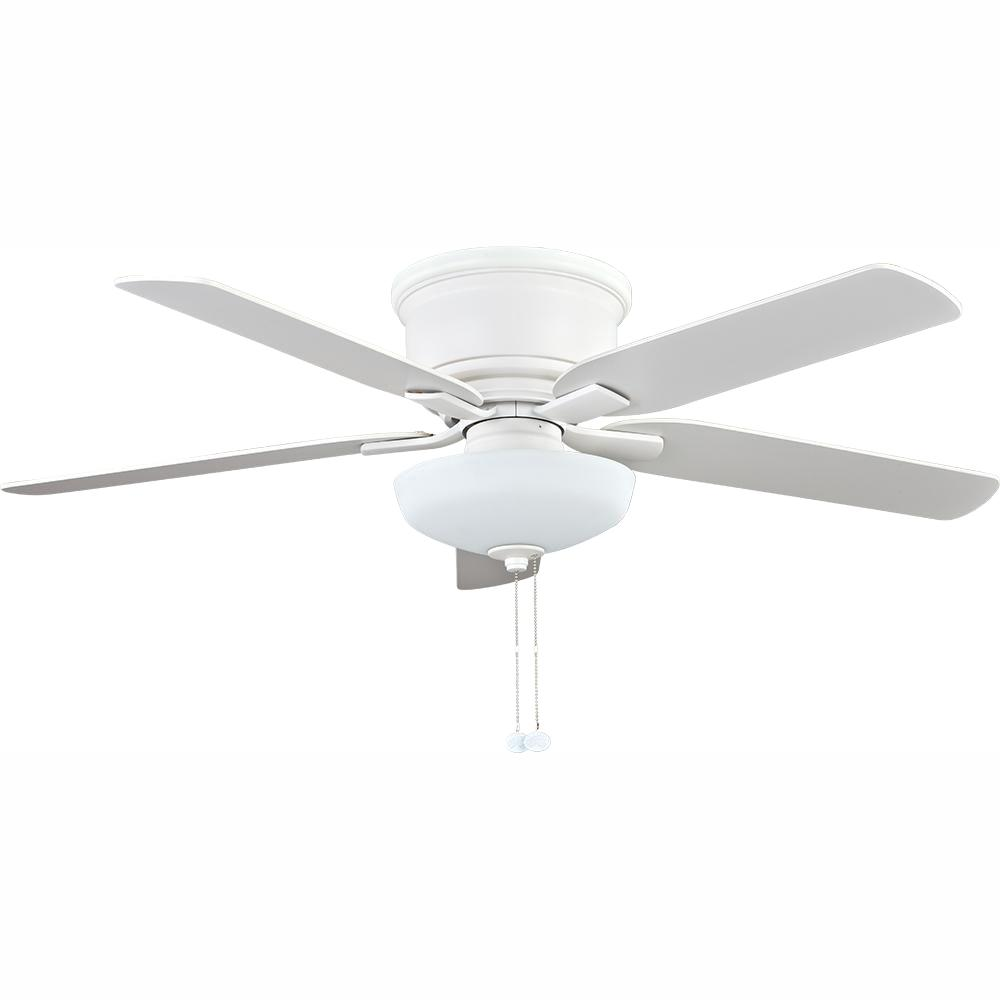 Hampton Bay Holly Springs Low Profile 52 In Led Indoor Matte White Ceiling Fan With Light Kit 57288 The Home Depot