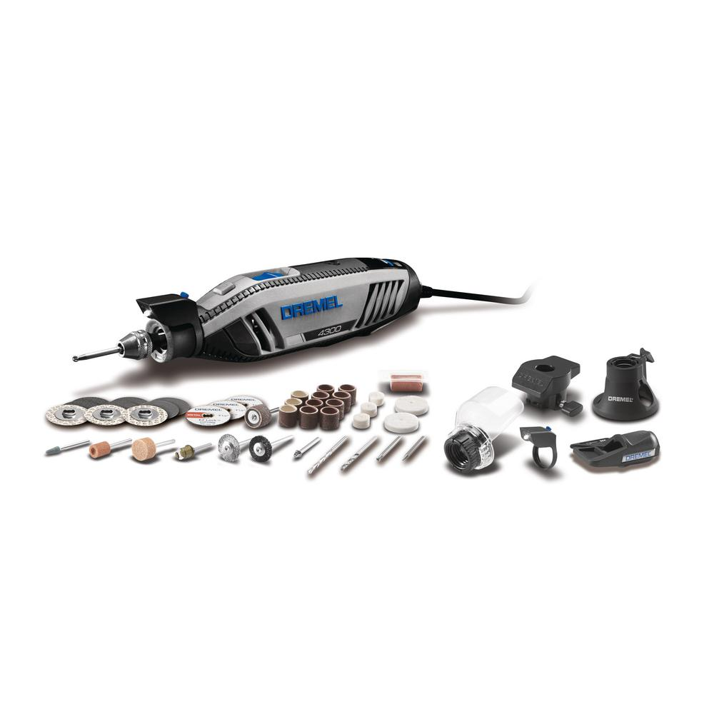 Dremel 4300 series 1 8 amp corded variable speed rotary tool kit with case 45 accessories 4300 - Dremel homedepot ...