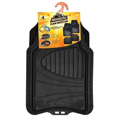 Black Heavy Duty Rubber 19 in. x 29 in. Car Mat (4-Piece)