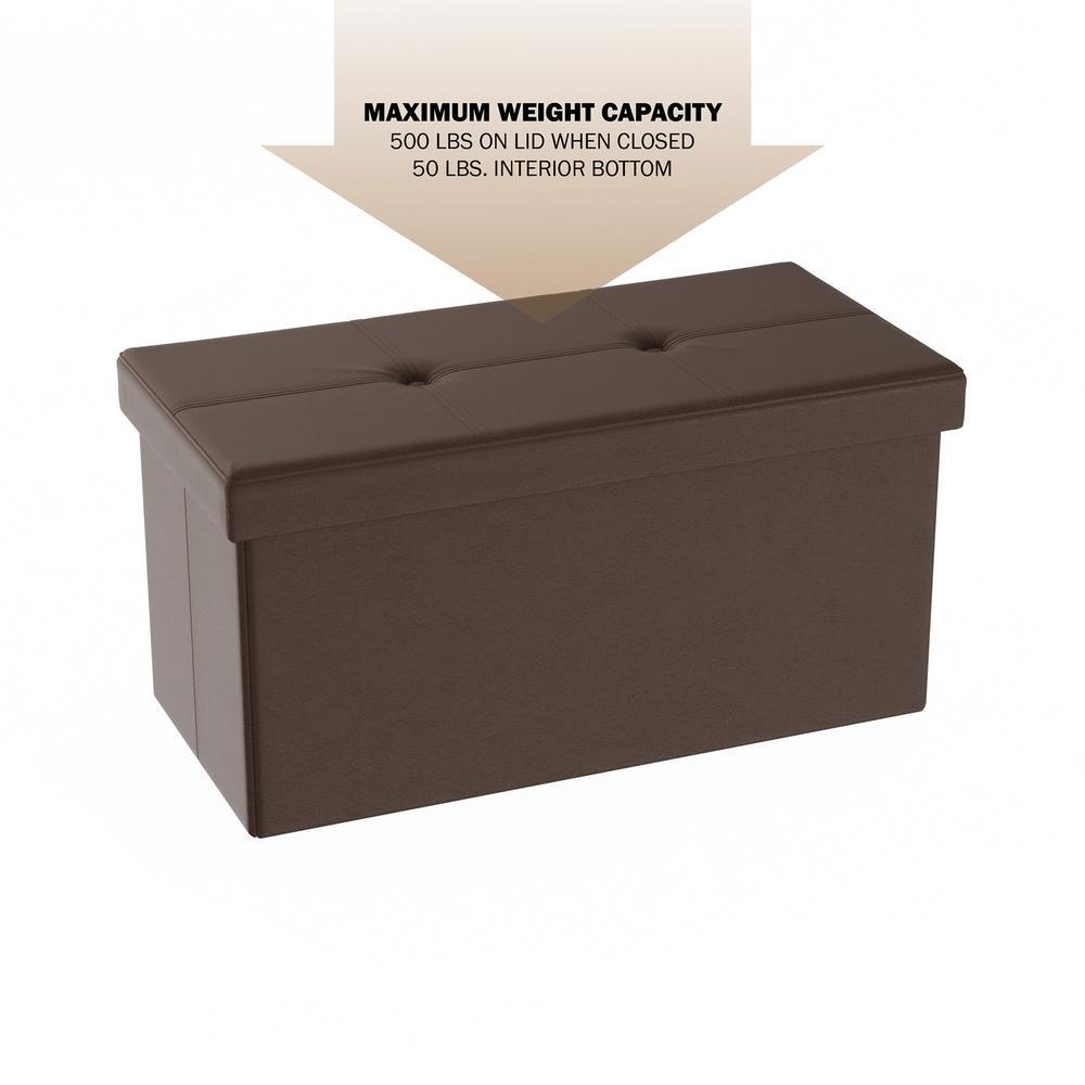 Phenomenal Lavish Home Brown Faux Leather Large Foldable Storage Bench Ibusinesslaw Wood Chair Design Ideas Ibusinesslaworg