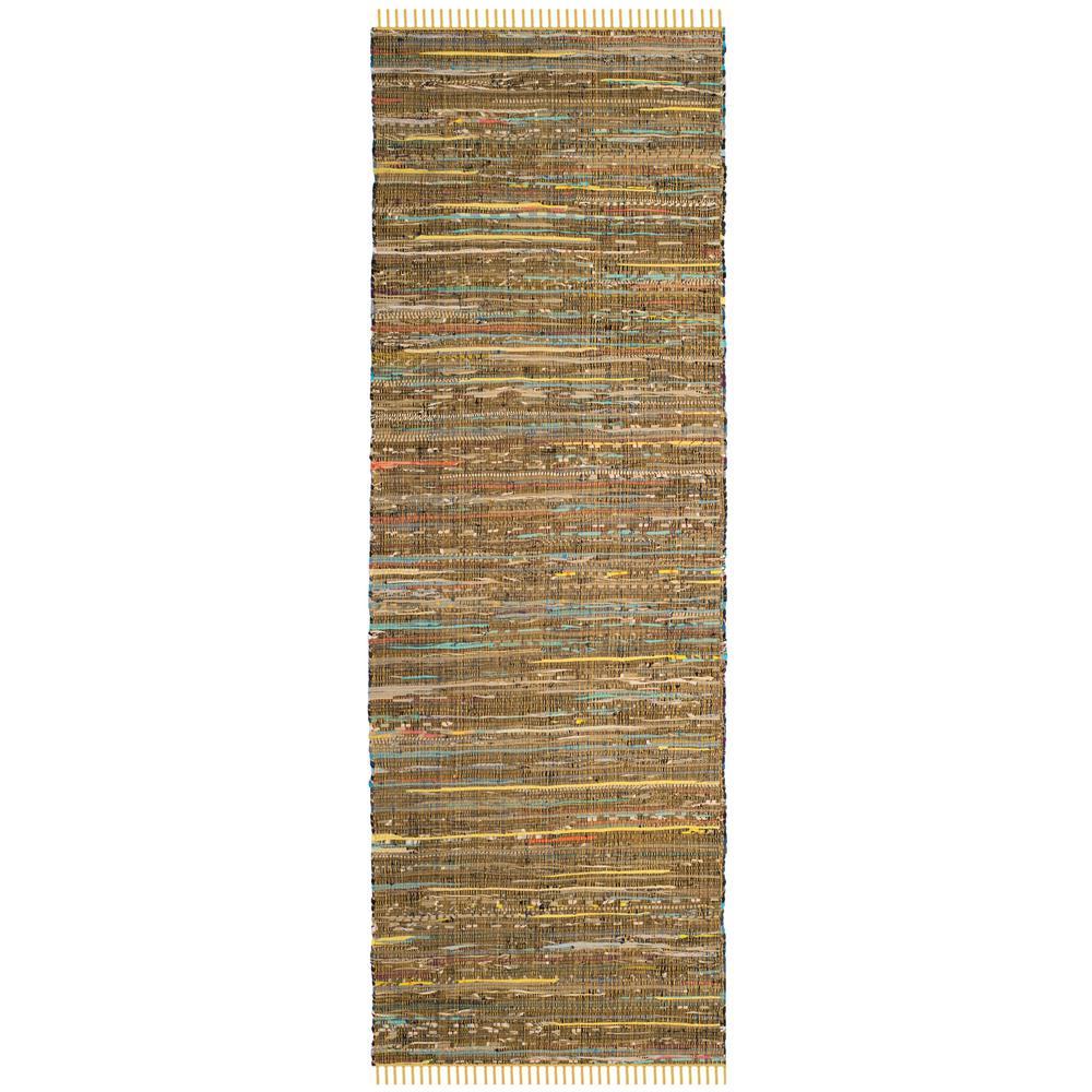 Rag Rug Yellow/Multi 2 ft. 3 in. x 12 ft. Runner Rug