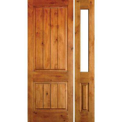 56 in. x 96 in. Rustic Knotty Alder Sq-Top VG Unfinished Right-Hand Inswing Prehung Front Door with Right Half Sidelite