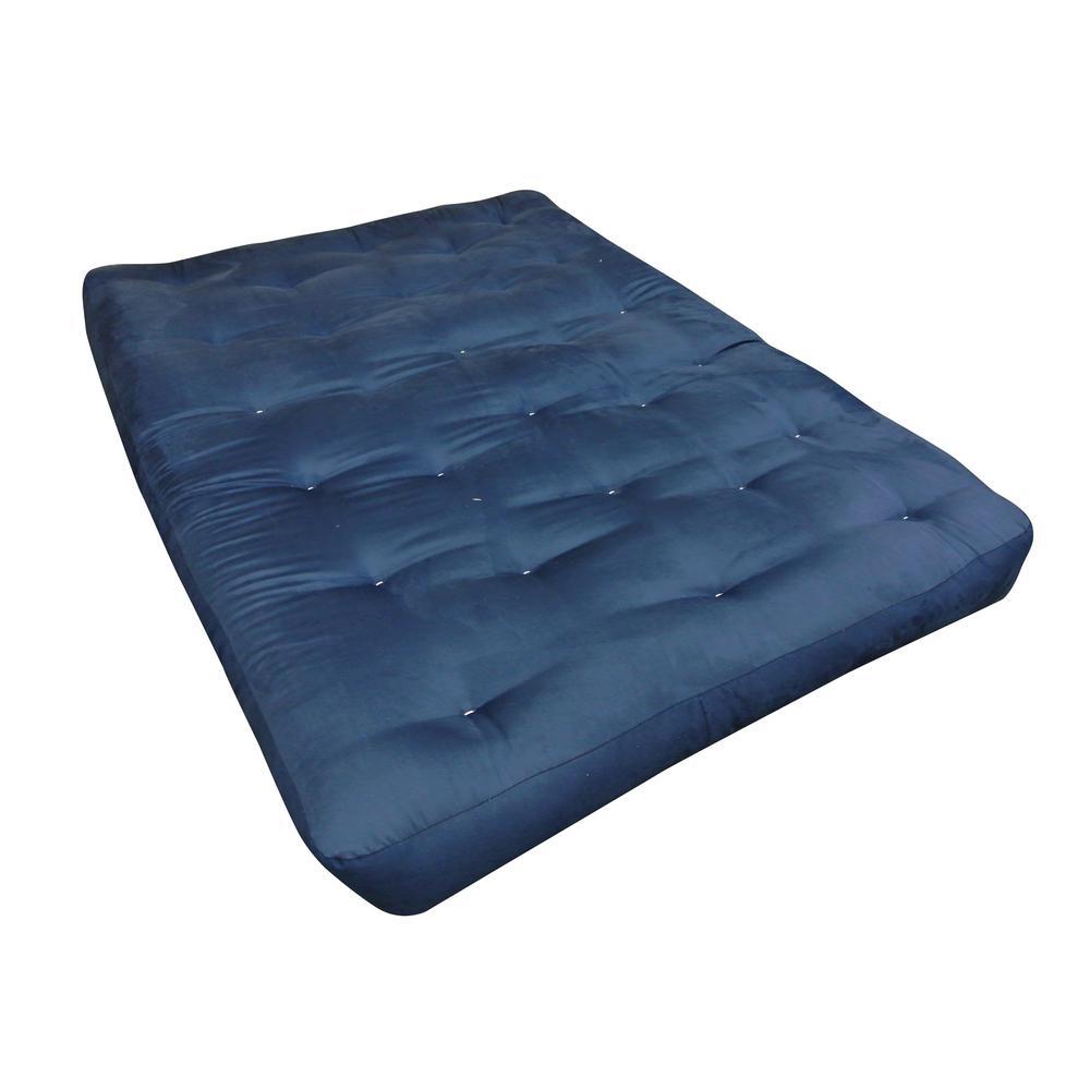 108 Full 10 in. EuroCoil Foam and Cotton Blue Microfiber Futon Mattress