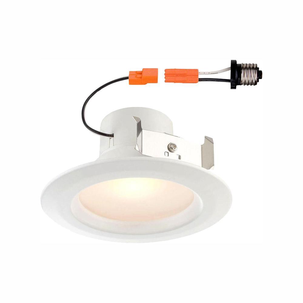 EnviroLite Standard Retrofit 4 in. White Recessed Trim Warm LED Ceiling Light with 92 CRI, 3000K