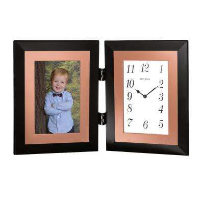 8.5 in. H x 13.25 in. W Hinged Clock and Photo Combination in Black Metal