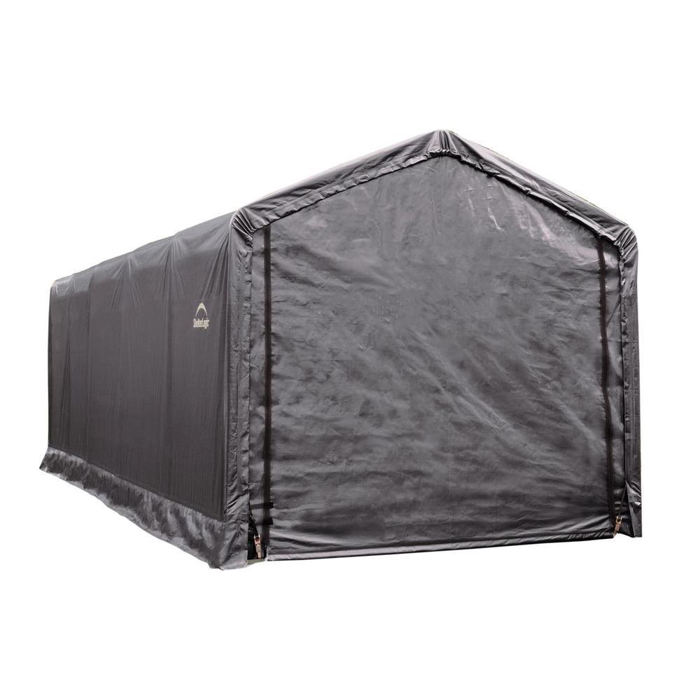 ShelterTube 12 ft. x 25 ft. x 11 ft. Grey Steel and Polyethylene Garage without Floor