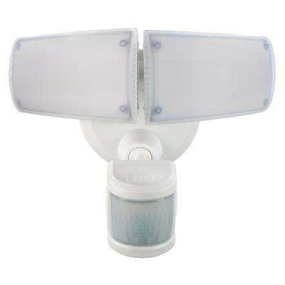 180° White Motion Activated Outdoor Integrated LED Twin Head Flood Light with Adjustable Color Temperature