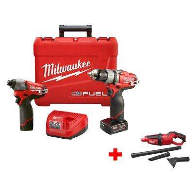 M12 FUEL 12-Volt Lithium-Ion Brushless 1/2 in. Drill/Impact Combo Kit with Free M12 Cordless Vacuum